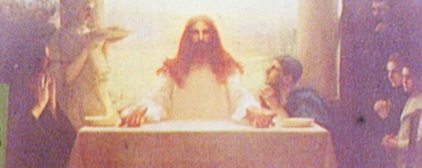 Christ Breaking Bread, Photograph of Painting, adapted from image at loc.gov with credit to Detroit Publishing Co.