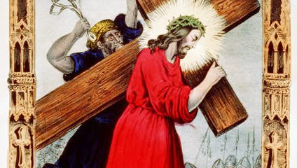 Jesus Carries the Cross, adapted from image at loc.gov