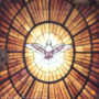 Stained Glass Window of Dove with Golden Rays and Dark Edging, Bernini's Gloria from Saint Peter's Basilica, adapted from image at cia.gov
