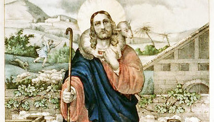 Jesus the Good Shepherd, adapted from antique Currier & Ives image at loc.gov