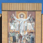 File Photo of Word of Life Stone Mural Mosaic, Featuring Christ with Arms Upraised, On the Hesburgh Memorial Library at Notre Dame