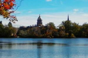 2a88e68793c Saint Joseph's Lake with Golden Dome and Basilica of the Sacred Heart in the  Distance. ""