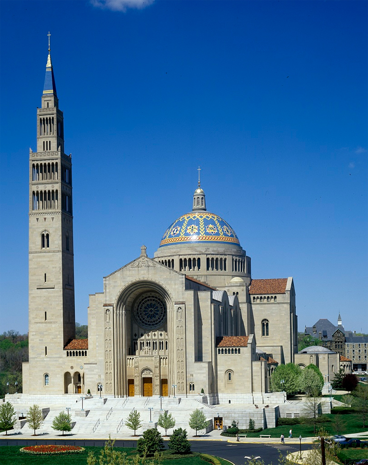 Basilica of the National Shrine of the Immaculate Conception file photo, adapted from image at loc.gov