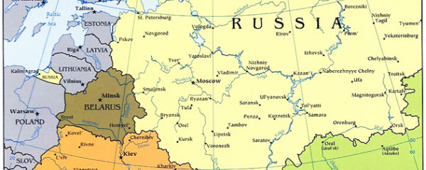 Map of Former Soviet Union, CIS, Western Portion, adapted from image at cia.gov