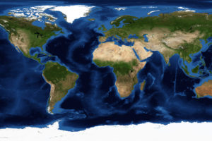 World Map,Projection Type, from Satellite Image