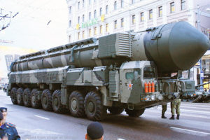 Russian Nuclear Missile on Mobile Launcher in Parade
