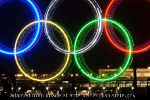 File Photo of Olympic Rings Lit At Night