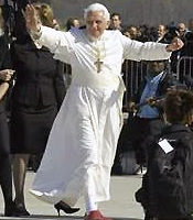 Pope Benedict XVI Waving Before Crowd
