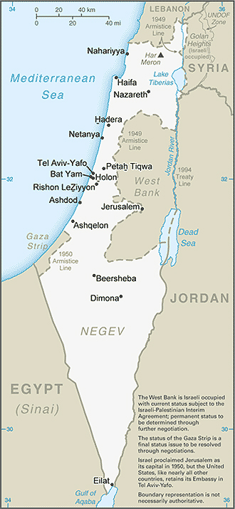 Map of Israel and Environs