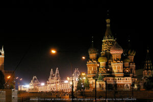 Kremlin, St. Basil's, Red Square at Night