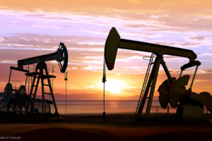 Oil Wells and Sunset