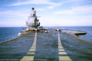 File Photo of Russian Aircraft Carrier Admiral Kuznetsov, Steven C. Welsh adaptation of U.S. Navy Photo at defense.gov