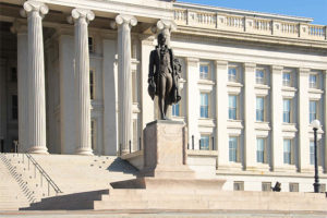 U.S. Treasury Department North Facade and Statue of Alexander Hamilton