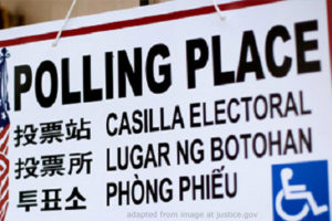 File Photo of Polling Place Sign in Multiple Languages, adapted from image at justice.gov