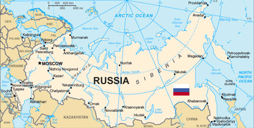 Map of Russia with Russian Flag