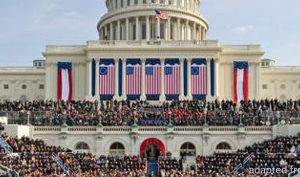 File Photo of West Side of U.S. Capitol at Inauguration Time With Large Flags Draped