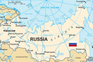 Russian Map and Flag
