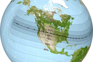 Globe with Path of Solar Eclipse, adapted from image at nasa.gov