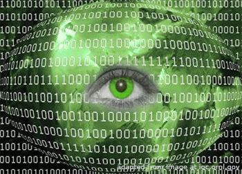File Image of Stylized Eye Surrounded by Binary Code, adapted from image at ornl.gov