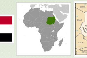Sudan Flag, Africa Map Highlighting Sudan, Map of Sudan and Environs, adapted from images at cia.gov