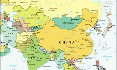 Asia Map, adapted from image at cia.gov by Steven C. Welsh :: www.stevencwelsh.com :: www.stevencwelsh.info