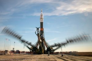 File Photo of Soyuz Rocket on Launchpad with Gantry, adapted from image at nasa.gov with photo credit: Bill Ingalls; adapted by Steven C. Welsh :: www.stevencwelsh.info :: www.stevencwelsh.com