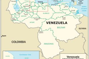 Venezuela Map, adapted from image at cia.gov