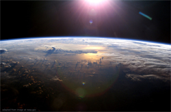 File Image of Out Space, Curvature of Earth, Sun