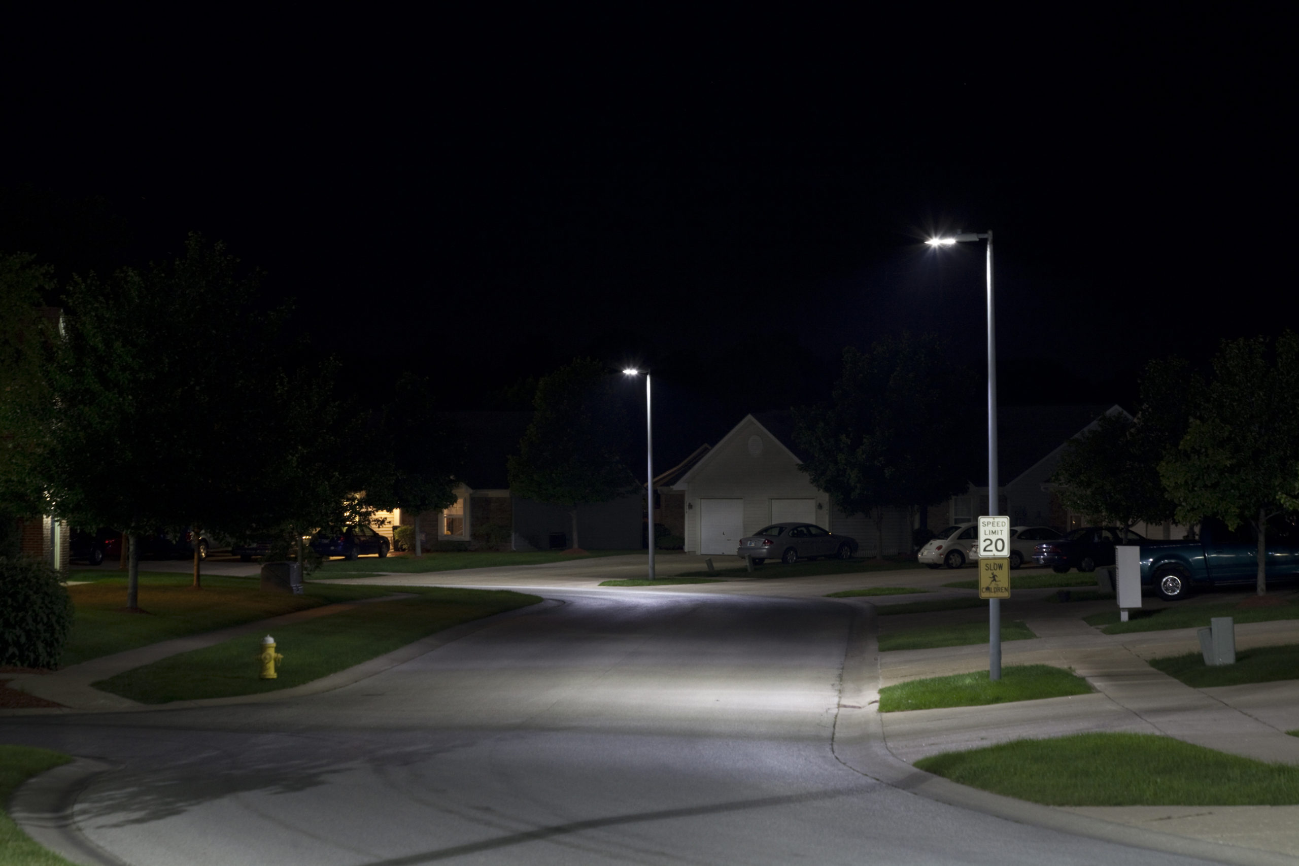 File Photo of Streetlights on Street at Night, adapted from image at energy.gov